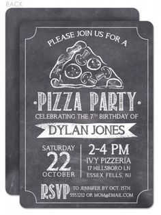 chalkboard invitation for pizza party - super thick cardstock! Chalkboard Invitation, Wedding Invitation Wording, Elegant Wedding Invitations, Chalkboard Quotes, Dinner Invitations, Birthday Invitations, Pizza Party Birthday, Childrens Party, Rehearsal Dinners