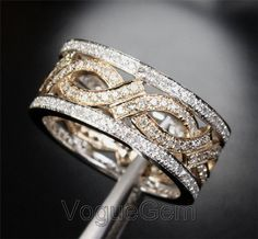 VogueGem Solid 14K White Gold  Unique Eternity Band 1.05ctw Diamonds Two Tone Gold Anniversary Wedding Ring