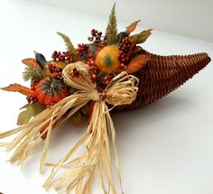 Fall Cornucopia, Autumn Cornucopia, Fall Decor, Harvest Decor, Pumpkins, Thanksgiving, Squash, Raffia, Gourds, Fall Leaves, Centerpiece