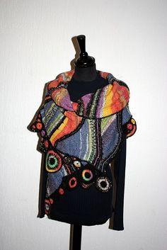 Ravelry: Hundertwasser Style pattern by Liane Staehler Crochet Coat, Form Crochet, Crochet Clothes, Crochet Fabric, Knit Vest Pattern, Knitted Shawls, Knitted Scarves, Shawls And Wraps, Pattern Fashion