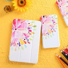IPad Protective Case with water color flower for inch
