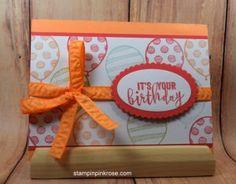 Stampin' Up! CAS Birthday card made with Balloon Adventures stamp set and designed by Demo Pamela Sadler. See more cards at stampinkrose.com #stampinkpinkrose #etsycardstrulyheart