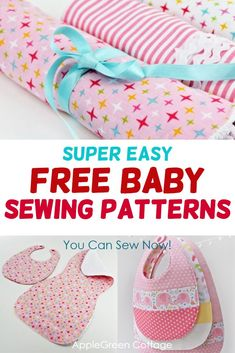 Free baby sewing patterns that are super easy to sew! Learn how to sew perfect baby bibs, bandana bibs, burp cloths and baby toys with these free and easy sewing patterns with beginner friendly tutorials. Easy Baby Sewing Patterns, Baby Sewing Tutorials, Free Baby Patterns, Baby Sewing Projects, Sewing For Kids, Free Sewing, Sewing Ideas, Diy Projects, Sewing Tools
