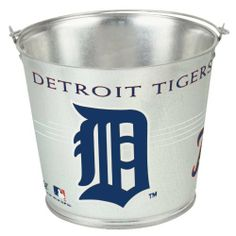 """MLB Detroit Tigers 5-Quart Galvanized Pail by WinCraft. $19.91. Made in the USA. Great for holding ice, water, sand, peanuts, chips or just about anything.. These metal pails are made of rust resistant galvanized steel. They have a waterproof sealed bottom and are great for holding ice, water, dirt, or anything else you would like to carry or hold in these great decorative pail. Measures 7""""h. x 9""""dia.. Rust resistant galvanized steel. Waterproof sealed bottom. For ..."""