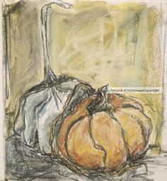 Original Art Drawing Fall Squash by PrussianBlueStudio on Etsy, $55.00