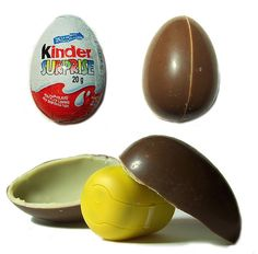 A childhood fantasy: a large chocolate egg shell with a plastic egg inside containing a toy :) Wish I could watch my kids try them!