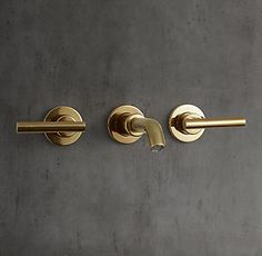 RH's Sutton Lever-Handle Wall-Mount Faucet:Sleek lines and a modern sensibility define our solid brass collection for the bath.