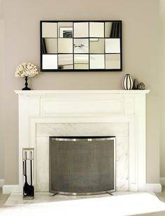 "Hope it looks like this after we do away with that useless ""media nook"".  Love the simple fireplace screen."