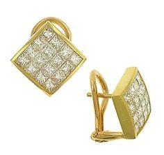Invisible Set Princess Cut Diamond Earrings Princess Cut Diamond Earrings, Princess Cut Diamonds, Watches, Bracelets, Gold, Stuff To Buy, Jewelry, Jewlery, Wristwatches