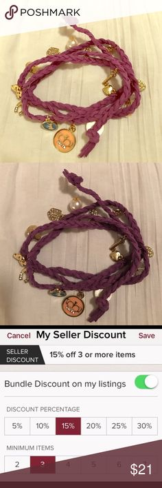 Juicy Couture charm bracelet leather hemp festival 💢1 DAY SALE💢 Juicy Couture Charms bracelet , hanging on a hemp leather purple hemp band you tie an ends . Sooooo cute 😍 BRAND NEW - RARE - DONT MISS OUT you will luv it-- I offer bundle item discounts and ship super fast 🏃🏼‍♀️**please don't send low offers this is already reasonably priced , plus keep in mind Poshmark deducts selling fees,  leaving sellers like me not much after sale 💰🙁 Juicy Couture Jewelry Bracelets