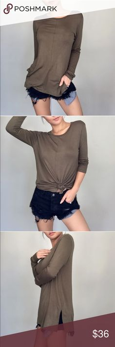 Vintage Olive Mid Seam LS Brand new w tag. I love this olive color but I prefer V neck. I got this from the amazing @itselaine and photos are taken by her. Check out her closet! Price is firm. Thanks! Ekattire Tops