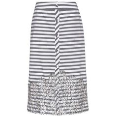 Johanna Ortiz Tanzania Striped Cotton Skirt ($1,190) ❤ liked on Polyvore featuring skirts, grey, cotton knee length skirt, striped skirts, grey striped skirt, gray skirt and grey skirt