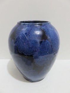 Antique Arts Crafts Brush McCoy Vase Onyx Light Deep Dark Blue Blended Glaze   #ArtsCraftsMissionStyle