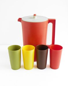 Vintage Tupperware Cups w/ 1 Gal Pitcher by cheerfulowl on Etsy, $23.00