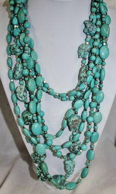 Gorgeous 7 Stranded Turquoise and Silver Necklace