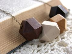Wooden Geometric Cube Necklace - 'Polygon'