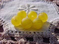 Spring's First Sunshine Vintage Glass Beads by vintagebeadnut, $4.00