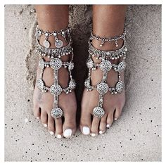 "Wow! They're quite 'excessive'...but might be more what i need. Shame they're not daisies!!! Original description ""Emmy DE * Happy feet in foreversoles barefoot sandals + lostloverstore anklets (by gypsylovinlight)"""