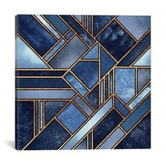 """iCanvas """"""""Blue City""""""""by Elisabeth Fredriksson Canvas Wall Art, Multi Blue City, Stained Glass Designs, Contemporary Wall Art, Art And Technology, City Art, Art Deco Design, Geometric Art, Geometric Designs, New Wall"""