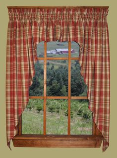 Primitive Homestead Plaid Swag Country Curtains