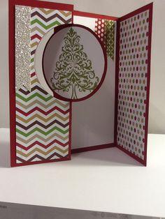 Christmas Flip card using Stampin Up thinlit card die.