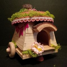 OOAK Fairy Wagon: Glam Gypsy Wagon by BirchTreeFairyHouses on Etsy