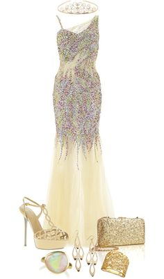 """""""Gold Prom Dress :)"""" by tanisha500 on Polyvore Gold Prom Dresses, Grad Dresses, Gold Dress, Formal Chic, Formal Prom, Dress Formal, Great Gatsby Prom, Prom 2015, Senior Prom"""