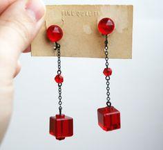 Vintage Red Czech Glass Art Deco Crystal Earrings by wimpyren