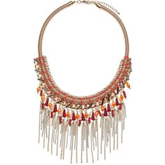 John Lewis Woven Tassel Coral Collar Necklace, Coral/Gold (44 AUD) ❤ liked on Polyvore featuring jewelry, necklaces, gold braided necklace, tassel necklace, beaded necklaces, coral necklaces and gold bead necklace
