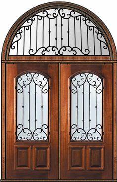 Now! $5,848 Prehung Transom Double Door 80 Mahogany Valencia Arch Lite