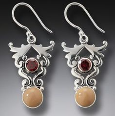 Ornate Sterling, Garnet and Fossil Mammoth Bone Earring