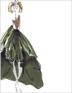 Green Dress Oscar de la renta fall 2012 Fashion Sketch by Jessica Repetto .