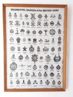 Excited to share this item from my shop: Regimental Badges of the British Army Printed on Linen - Teak Framed British Army Regiments, Army Print, British Armed Forces, British History, Marketing And Advertising, Linen Fabric, Etsy Vintage, Handmade Items, Bullet Journal