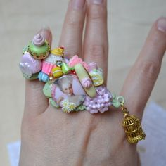 """Abominabilis Tempus French Rococo over size ring """"Let them eat cake!"""""""