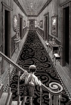 Stunning Illustrations on Scratchboard – Fubiz Media Artist Douglas Smith made a stunning monochromatic illustration series entitled Thrillers and that could be like engraving. In fact the illustrator used scratch Arte Horror, Horror Art, Art Sinistre, Ink Art, Art Scratchboard, Ink Illustrations, Illustration Art, Engraving Illustration, Illustrator Design