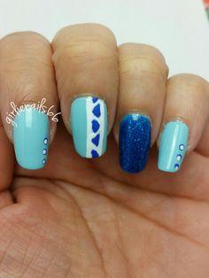 Blue Aztec nails