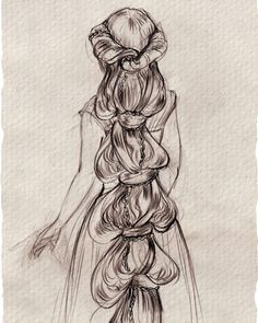 hair design by yours truly for Rapunzel in #Tangled    Claire keane, visual development, drawing, disney, princess