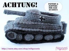 Tiger Tank slippers from etsy. I want some!