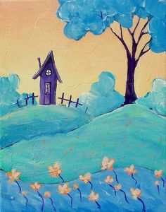 Tiny Purple House with Blue Tree | Flickr - Photo Sharing!