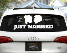 Star Wars Just Married Wedding Vinyl Window Cling Decal