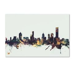 Trademark Fine Art 'Melbourne Skyline' Canvas Art by Michael Tompsett, Yellow