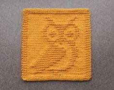 Knit Dishcloth OWL Hand Knitted Unique Design by AuntSusansCloset Knitting Squares, Dishcloth Knitting Patterns, Crochet Dishcloths, Knit Or Crochet, Knitting Stitches, Knit Patterns, Baby Knitting, Knitted Owl, Knitted Washcloths