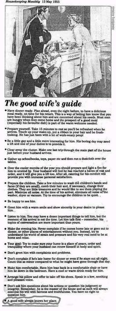 "I bet, after reading this, my husband wishes it was 1955!! And, according to this, I am definitely not a ""good wife."""