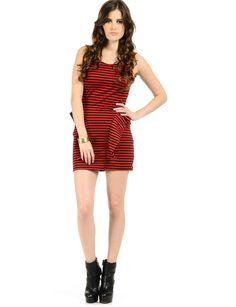Striped Side Peplum Dress | $16.50 | Trendy Cheap | Club and Party Dresses | Red | MODdeals.com