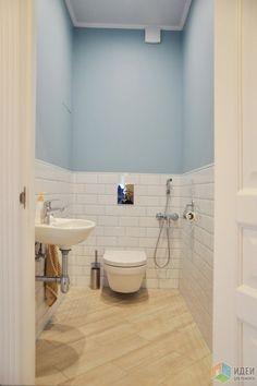 Дизайн санузла, отделка низа стены керамической плиткой, плитка кабанчик