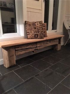 Made with probably the oldest beam i have , beautiful authentic look with a distressed uneven old barn plank showing its age . This bench can be use anywhere in your decor or at the table , will suit any style and lift up the entire room . This material is very rare by its age and method of hand making barn beams before the motor came . I would give its age around 1830 by knowledge of barns in eastern Ontario . A piece of history to have in your home and to pass on to your family , it will…