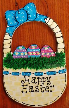 Beautiful HAPPY EASTER BASKET Door SIGN Wall Plaque Holiday Eggs Seasonal  #DESIGNEDHANDCRAFTEDBYMILLERFAMILYWOODCRAFTS