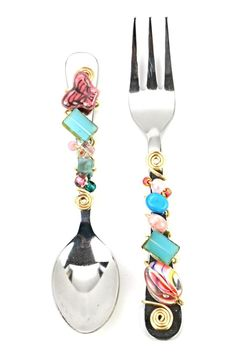 """Beaded Spoon & Fork Set. These stainless pieces are accented with beads & silver wire. Great for using as serving pieces for dessert or coffee. Hand was only.    Measures: 5"""" L   Spoon & Fork Set by Karma and Coconuts. Home & Gifts - Home Decor - Dining - Flatware Naples, Florida"""