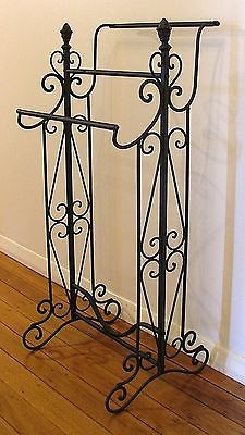 Wrought-Iron-Towel-Rack-Floor-Black-Brown-Medium-40cm-Wide-BA43