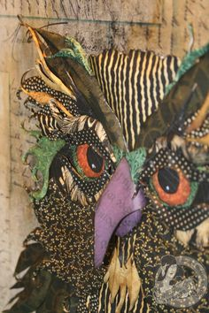 Graphic 45 ~ paper-piecing owl canvas